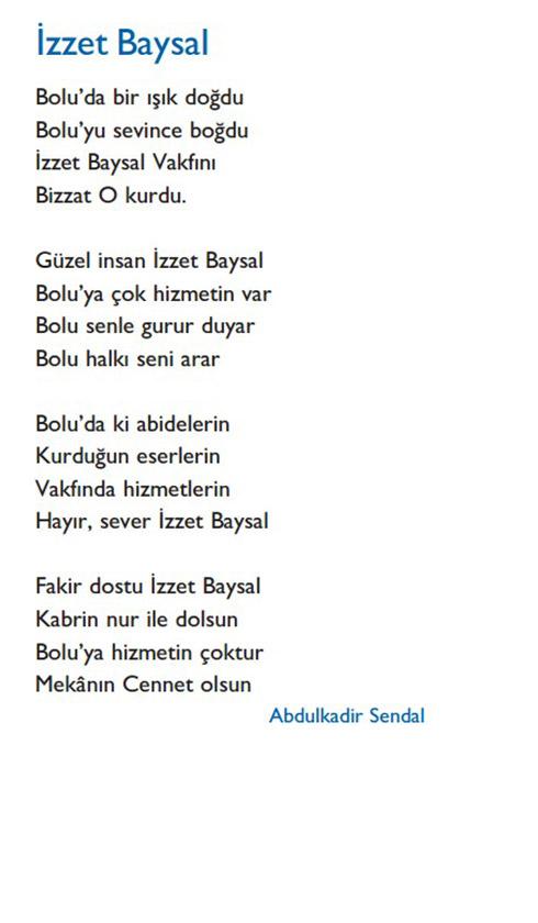 şiirlerde Izzet Baysal Izzet Baysal Vakfı